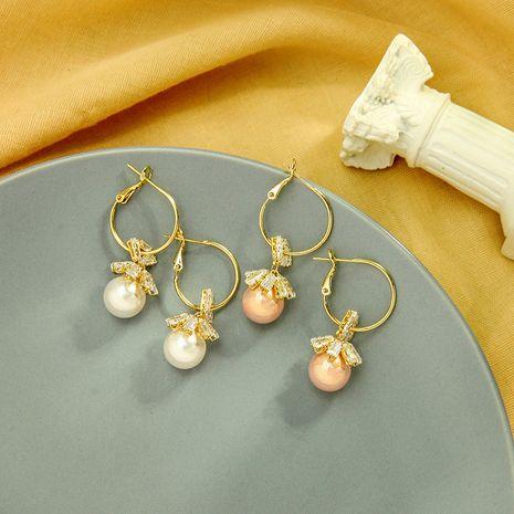Coreano s925 pendientes de plata pendientes de flores creativas pendientes de perlas de circón al por mayor nihaojewelry NHQD234469's discount tags