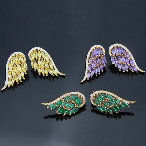 hot selling inlaid color zircon wings earrings new fashion earrings wholesale nihaojewelry NHBP234485's discount tags