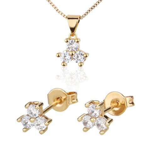 three-petal flower necklace set hot new gold-plated zircon stud earrings set wholesale nihaojewelry NHBP234486's discount tags