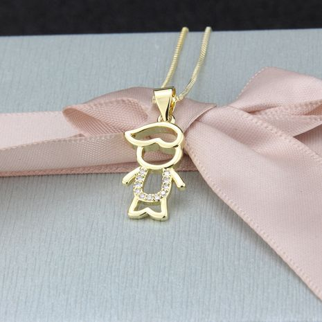 hot sale inlaid zircon boy pendant fashion new copper gold-plated kids necklace wholesale nihaojewelry NHBP234488's discount tags