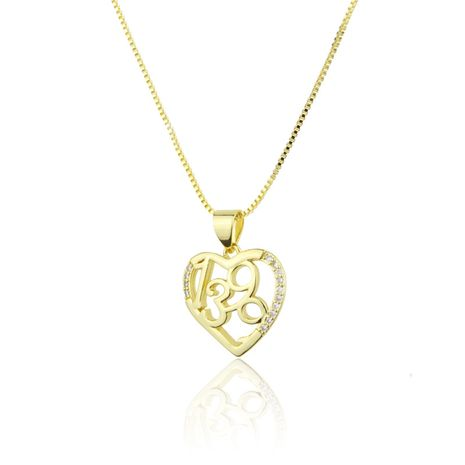 New product hot sale heart-shaped pendant copper micro-set zircon digital necklace wholesale nihaojewelry NHBP234487's discount tags