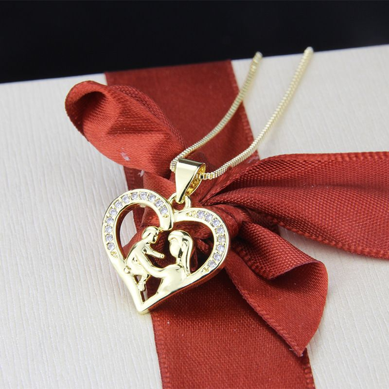 hot sale zirconium heart-shaped necklace fashion new copper gold-plated pendant wholesale nihaojewelry NHBP234490