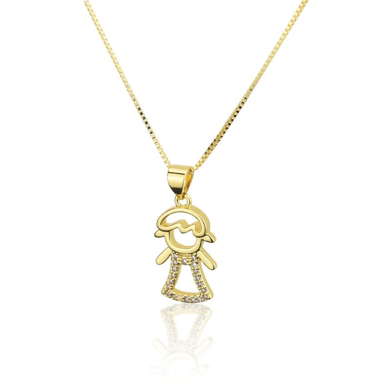 Hot Selling Zirconium Dress Skirt Hollow Girl Necklace Fashion New Copper Gilded Pendant wholesale nihaojewelry NHBP234491