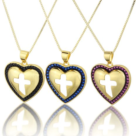 hot sale inlaid zirconium heart-shaped hollow cross necklace new copper plating religious pendant wholesale nihaojewelry NHBP234494's discount tags