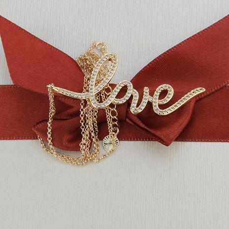 nouvelle lettre zircon AMOUR pendentif cuivre micro-ensemble plaqué or amour collier en gros nihaojewelry NHBP234493's discount tags