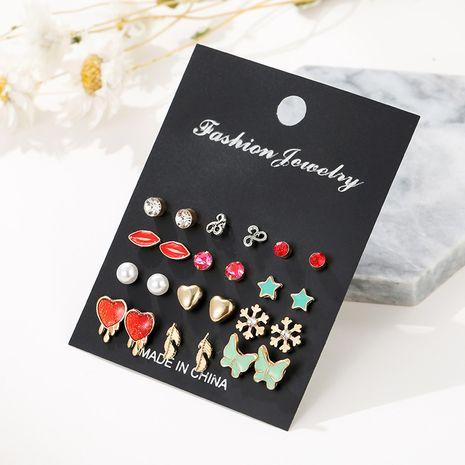 Los pendientes atractivos de los labios fijaron los pendientes cortos la joyería gotea los pendientes simples de la moda al por mayor nihaojewelry NHSD234496's discount tags