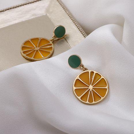 Été citron fruits huile goutte boucles d'oreilles doux jaune orange à la mode exagéré boucles d'oreilles suspendues bijoux en gros nihaojewelry NHSD234498's discount tags
