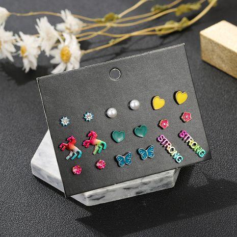 Boucles d'oreilles géométriques couleur bonbon 9 paires de boucles d'oreilles en forme de coeur en gros nihaojewelry NHSD234501's discount tags