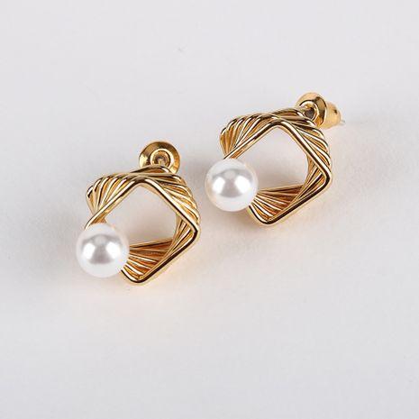 Nueva Corea Perla S925 Pendientes de plata 18K Oro verdadero Galvanoplastia Espiral Pendientes cuadrados al por mayor nihaojewelry NHQS234542's discount tags