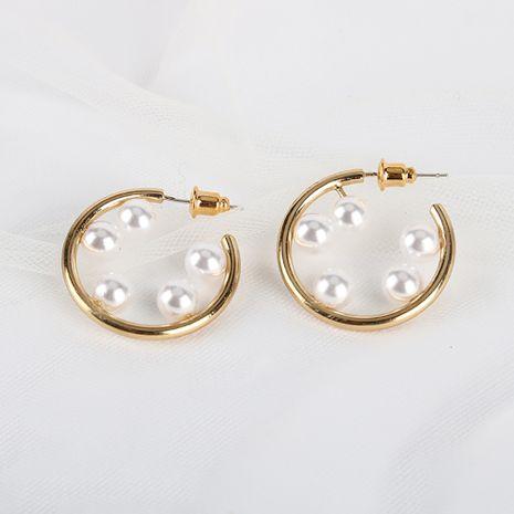Pendientes de perlas de temperamento exagerado 18 K chapado en oro real S925 pendientes de anillo de aguja de plata al por mayor nihaojewelry NHQS234544's discount tags