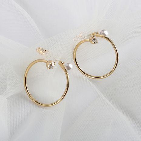 Pendientes de perlas exageradas 18 K chapado en oro real S925 pendientes de anillo de aguja de plata al por mayor nihaojewelry NHQS234545's discount tags