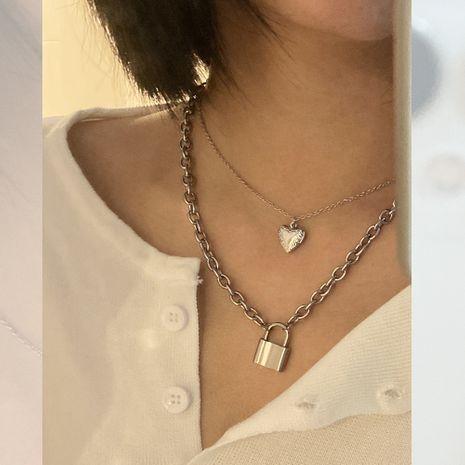 Corée rétro accessoires gadgets serrure pêche coeur pendentif collier deux pièces ensemble en gros nihaojewelry NHIM234586's discount tags