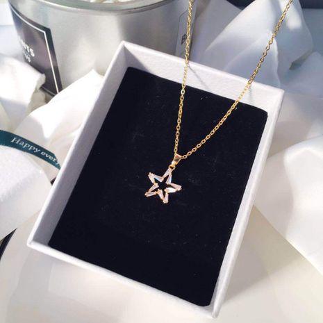 collier en acier titane zircon incrusté pendentif pentagramme en gros nihaojewelry NHIM234598's discount tags