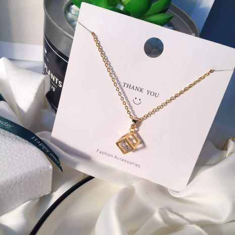 collier en acier au titane zircon incrusté cube pendentif en trois dimensions en gros nihaojewelry NHIM234599's discount tags