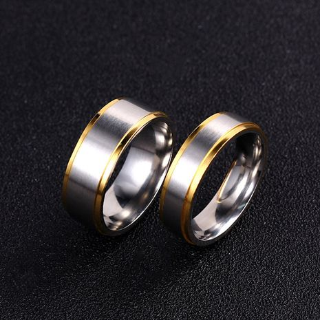 simple jewelry titanium steel simple couple ring stainless steel golden ring wholesale nihaojewelry NHIM234601's discount tags