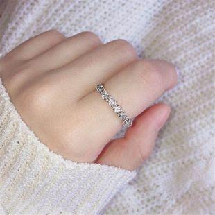 Korean superfine single drainage diamond ring elastic ring wholesale nihaojewelry NHIM234604's discount tags
