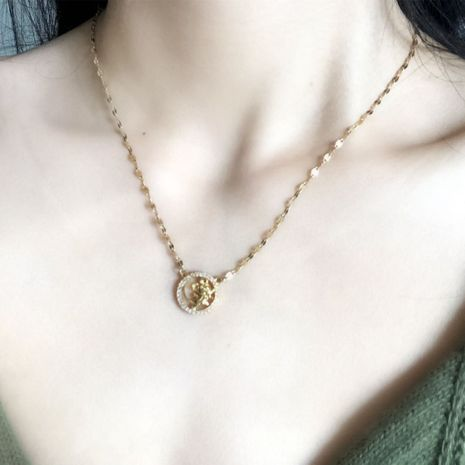 18K color gold zircon micro-inlaid mi mouse necklace cold style titanium steel clavicle chain wholesale nihaojewelry NHIM234607's discount tags
