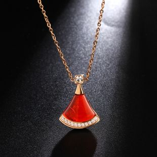 Titanium steel 18K small skirt zircon micro-inlaid fashion rose gold necklace titanium steel jewelry wholesale nihaojewelry NHIM234610's discount tags