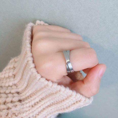 6MM couple série argent double anneau croix anneau en gros nihaojewelry NHIM234613's discount tags
