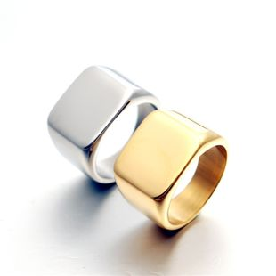 Titanium steel men's domineering fashion men's ring full glossy square solid gold ring wholesale nihaojewelry NHIM234617's discount tags