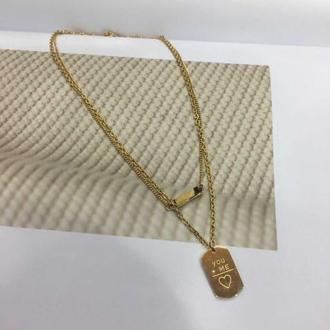 double-layer short clavicle chain non-fading non-allergic square pendant letter necklace wholesale nihaojewelry NHIM234628's discount tags
