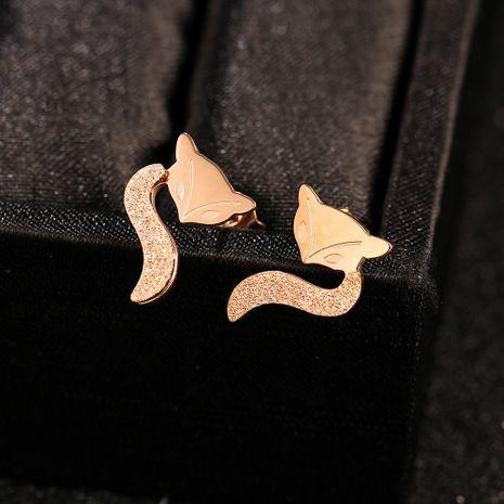 18k rose gold plated fox fairy little titanium steel earrings hypoallergenic earrings wholesale nihaojewelry NHIM234633's discount tags