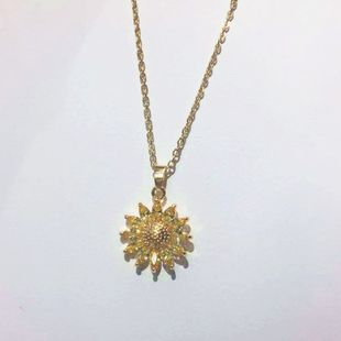 Korea exquisite zircon sun flower necklace18k gold clavicle necklace wholesale nihaojewelry NHIM234638's discount tags