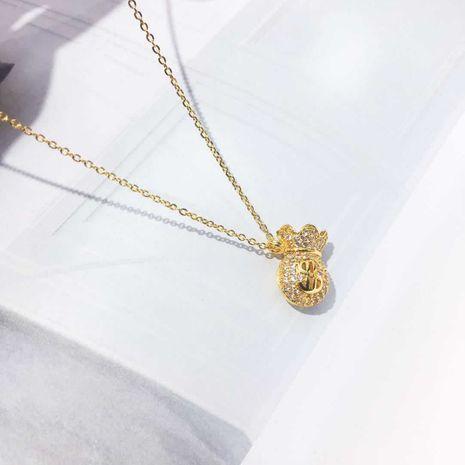 Mode signe du dollar sac chaîne de clavicule non-décoloration collier hypoallergénique en gros nihaojewelry NHIM234640's discount tags