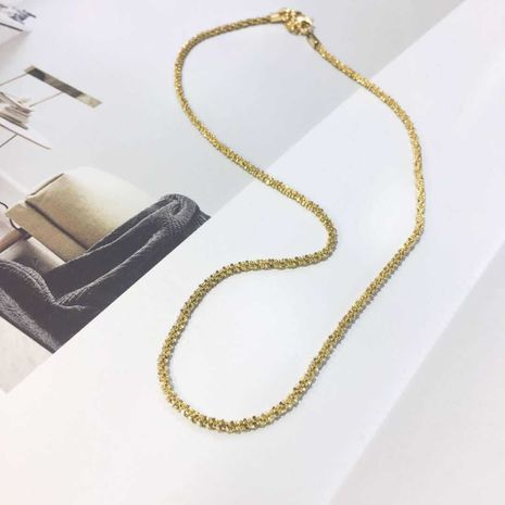 simple golden necklace jewelry trend hip-hop titanium steel plated 18k gold snake chain wholesale nihaojewelry NHIM234641's discount tags