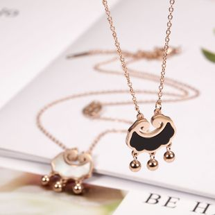 Korean fashion trend titanium steel 18K rose gold stainless steel ingot lock bell necklace wholesale nihaojewelry NHIM234643's discount tags