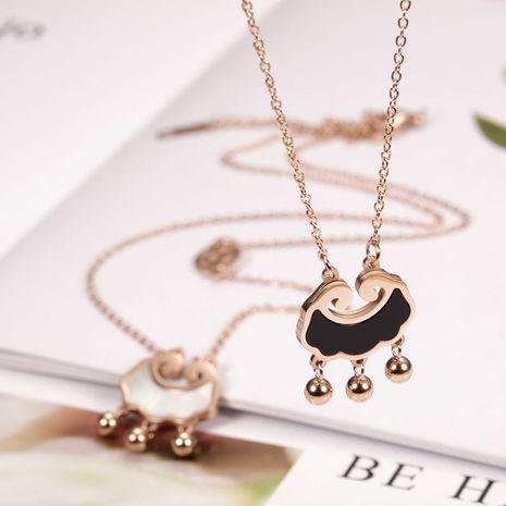 Korean fashion trend titanium steel 18K rose gold stainless steel ingot lock bell necklace wholesale nihaojewelry NHIM234643's discount tags