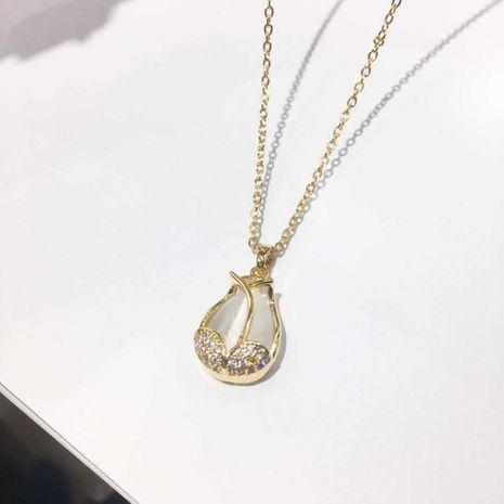 Élégant pendentif tulipe exquis chaîne de clavicule en acier au titane en gros nihaojewelry NHIM234644's discount tags