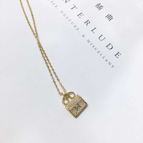 H letter bag clavicle chain Korean crystal necklace not allergic wholesale nihaojewelry NHIM234645's discount tags