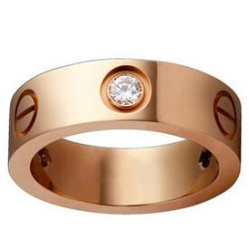 6mm dames simple titane acier rose or diamant bague en gros nihaojewelry NHIM234647's discount tags