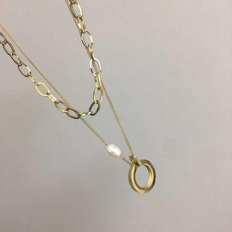 mode chaude collier double couche blogueur collier géométrique rond en gros nihaojewelry NHIM234651's discount tags