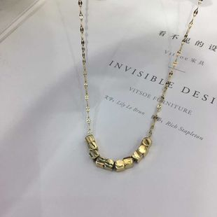 three-dimensional small square pendant clavicle chain golden neck chain clavicle chain wholesale nihaojewelry NHIM234652's discount tags