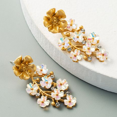 korean fashion ladies exaggerated ice flower earrings alloy color rhinestone earrings wholesale nihaojewelry NHLN234654's discount tags