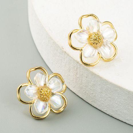 S925 silver needle simple small hollow shell flower earrings ear jewelry wholesale nihaojewelry NHLN234659's discount tags