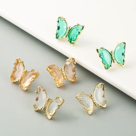 crystal butterfly series earrings Korean fairy cute senior earrings wholesale nihaojewelry NHLN234660's discount tags