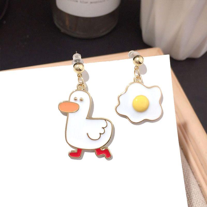Charming jewelry Korean new fashion asymmetric cute sweet silver needle earrings wholesale nihaojewelry NHFT234663