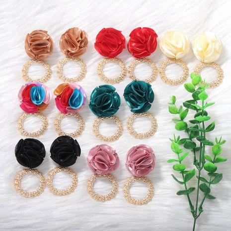 Bohemian fabric flower metal circle fashion earrings Korean geometric floral earrings wholesale nihaojewelry NHJQ234668's discount tags
