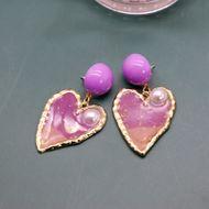 romantic purple heart-shaped earrings silver needle earrings gradient purple Phnom Penh pearl earrings wholesale nihaojewelry NHOM234507