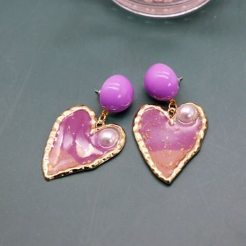 romantic purple heart-shaped earrings silver needle earrings gradient purple Phnom Penh pearl earrings wholesale nihaojewelry NHOM234507