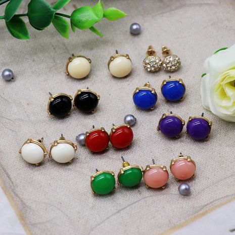 fashion exquisite color square resin earrings gemstone drill earrings wholesale nihaojewelry NHOM234531's discount tags