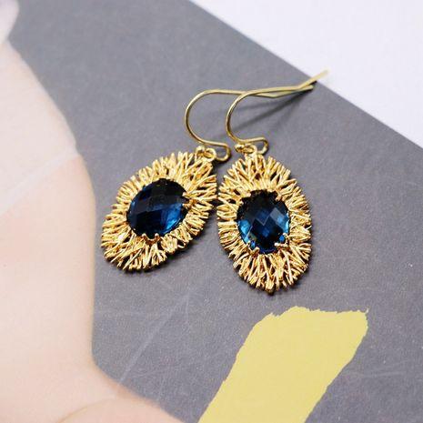 exquis cuivre matériel boucles d'oreilles ovale bleu pierres précieuses boucles d'oreilles mode boucles d'oreilles en gros nihaojewelry NHOM234511's discount tags