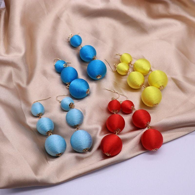 color line ball earrings red blue summer earrings three ball pendant earrings wholesale nihaojewelry NHOM234519
