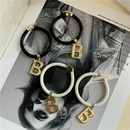 Korea the new black and white leather rope ring B letter pendant choker collar ring earrings wholesale nihaojewelry NHYQ234691