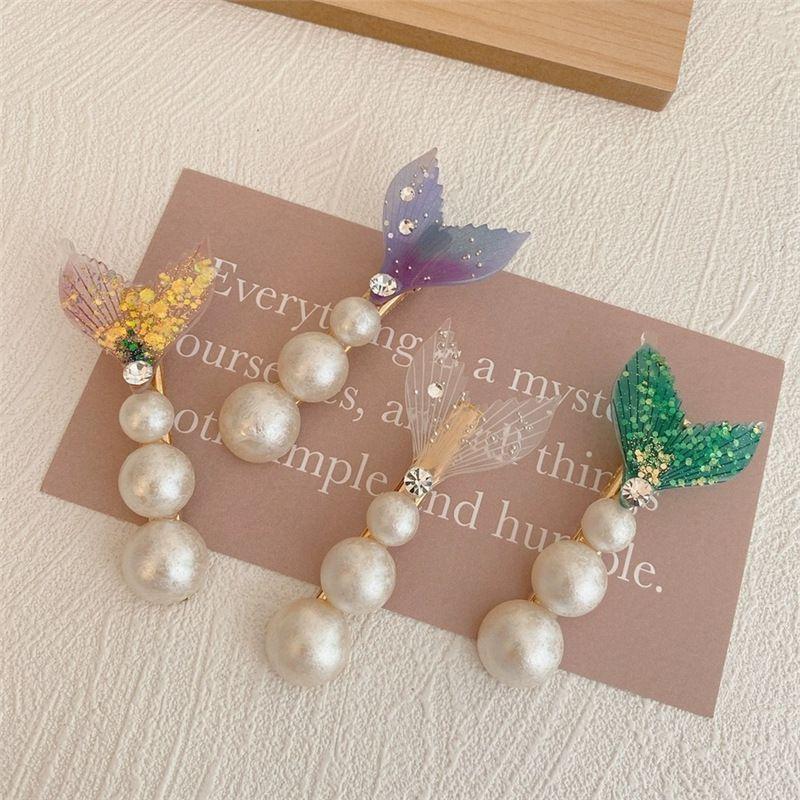 Mermaid tail pearl hair clip bangs word clip Korean hairpin headdress clip wholesale nihaojewelry NHYQ234693