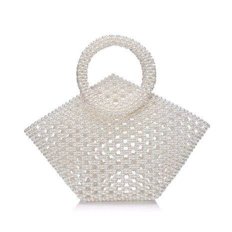 new pearl bag messenger woven bag handmade handbag wholesale nihaojewelry NHYM234710's discount tags