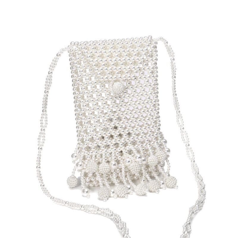 new pearl bag hand-woven beaded bag dinner diagonal bag wholesale nihaojewelry NHYM234721
